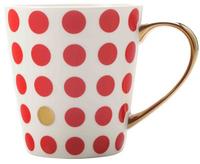 Maxwell & Williams Aurora Mug Gold Handle 300ML Spot Red