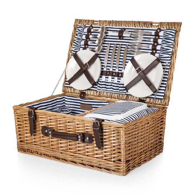 Picnic Time: Belmont Picnic Basket & Cooler (Navy and White Stripe)