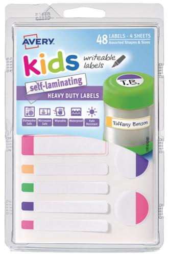 Avery: Self-Laminating - Kids Labels (4 Sheets)