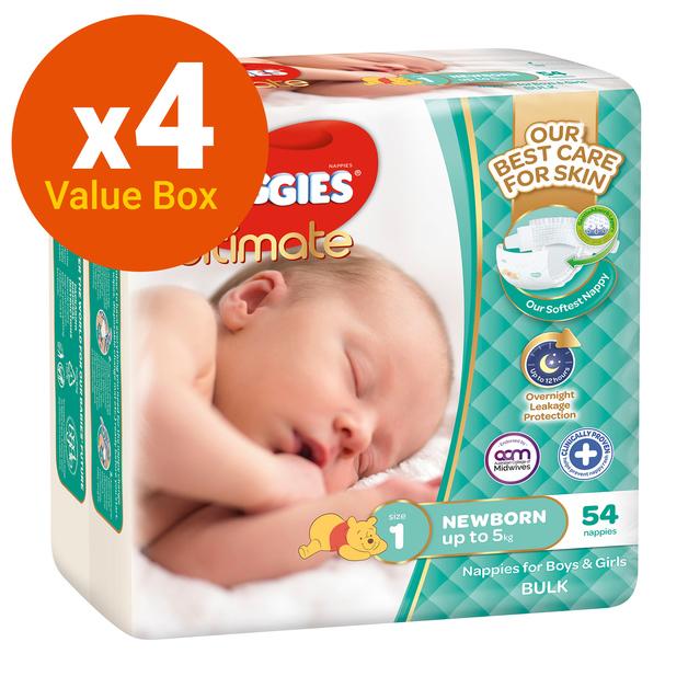 Huggies Ultimate Nappies Bulk Value Box - Size 1 Newborn (216)