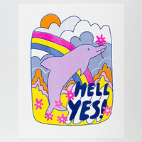Yellow Owl: Risograph Art Print - Hell Yes Dolphin