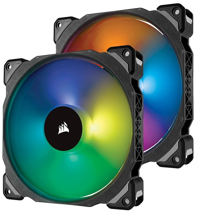Corsair ML140 PRO RGB LED 140MM PWM Premium Magnetic Levitation Fan — Twin Fan Pack with Lighting Node PRO