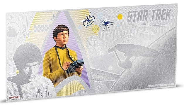 NZ Mint: Star Trek - Silver Coin Note - Ensign Pavel Chekov 2018 (5g Silver)