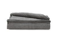 Ovela: Cotton Waffle Weave Blanket - Charcoal