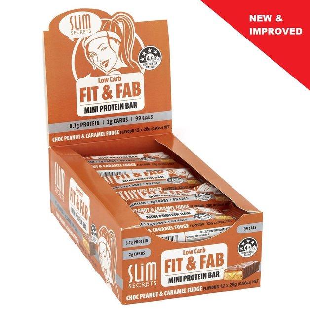 Slim Secrets Fit & Fab Low Carb Mini Protein Bar - Chocolate Peanut Caramel Fudge (12x28g)