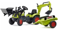 Falk: Claas Pedal Tractor - With Excavator, Back-Hoe & Trailer