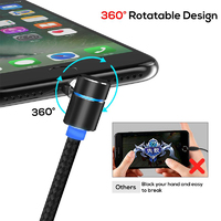 L-Type Elbow Magnetic Data Cable - UBS Type-C/ Lightning/ Micro-USB (Black)