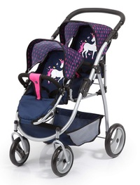 Bayer: Twin Tandem Doll Pram - Navy