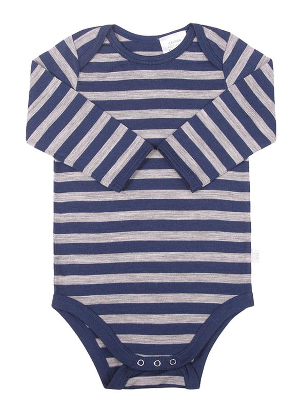 Babu: Merino Long Sleeve Body Suit - Navy Stripe (6-12m)