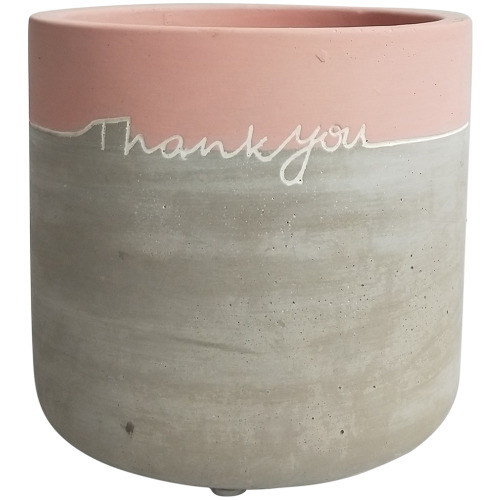 Message Planter: Thank You - Pink/Grey (12cm)