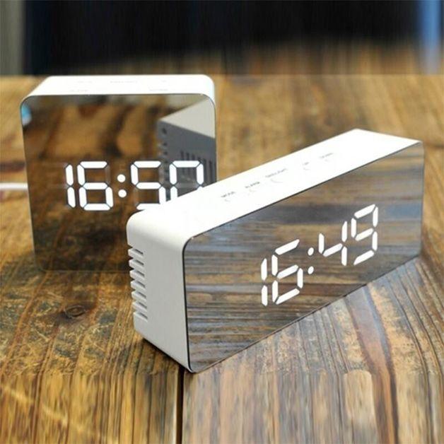 LED Mirror Clock: Style - Square