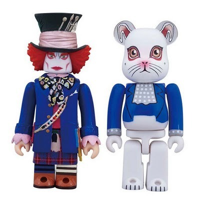 Kubrick Mad Hatter (Blue Jacket Version) & Bearbrick White Rabbit Cat Figures