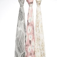 Aden + Anais: Silky Soft Bamboo Swaddle - Pretty Petals (3 Pack) image