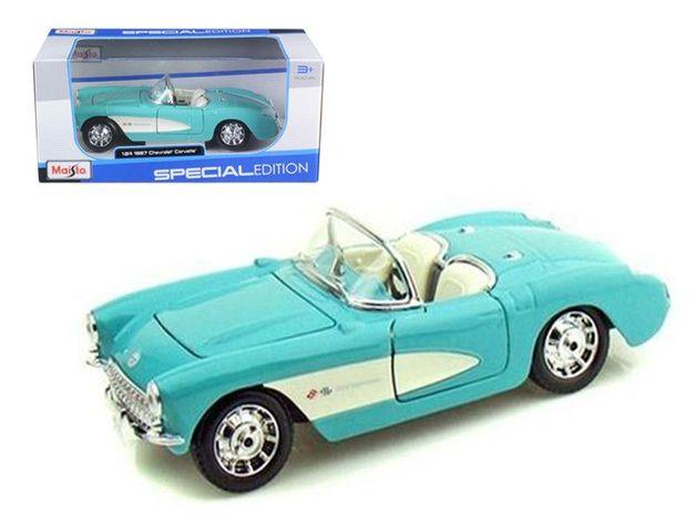Maisto Special Edition: 1:24 Die-cast Vehicle - Turquoise 1957 Chevrolet Corvette