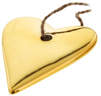 Dixie Porcelain Heart Decoration - Gold (7cm)