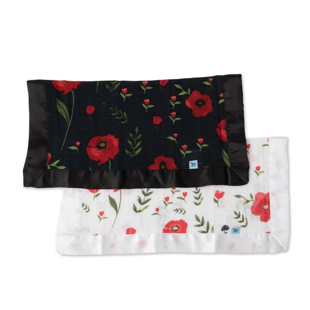Little Unicorn: Muslin Security Blanket 2 Pack - Summer Poppy & Dark Poppy