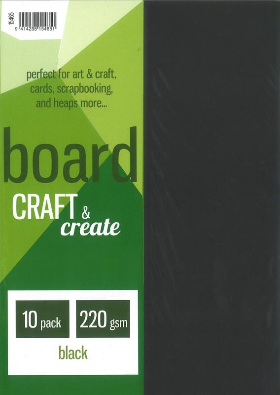 Craft & Create A4 220gsm Board - Black (10 Pack)