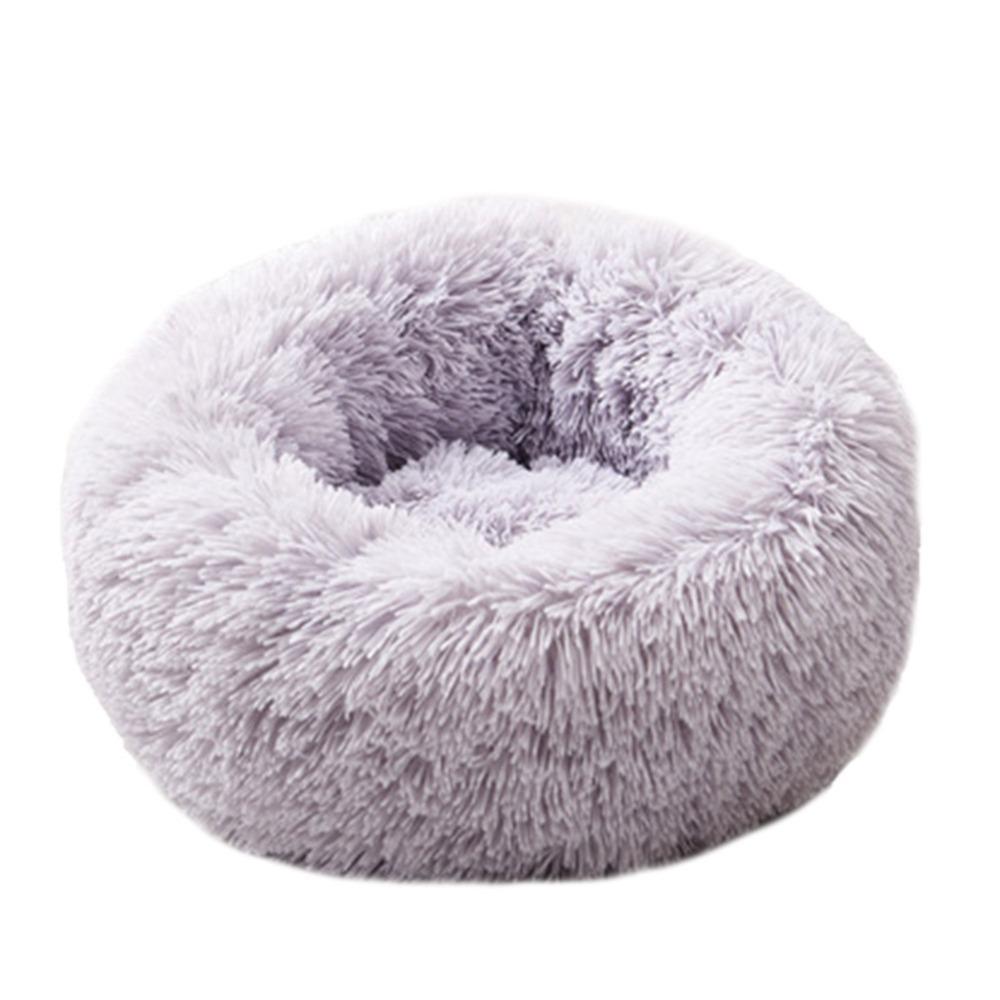 Ape Basics: Long Plush Warm Round Pet Bed - Light Gray (XL) image