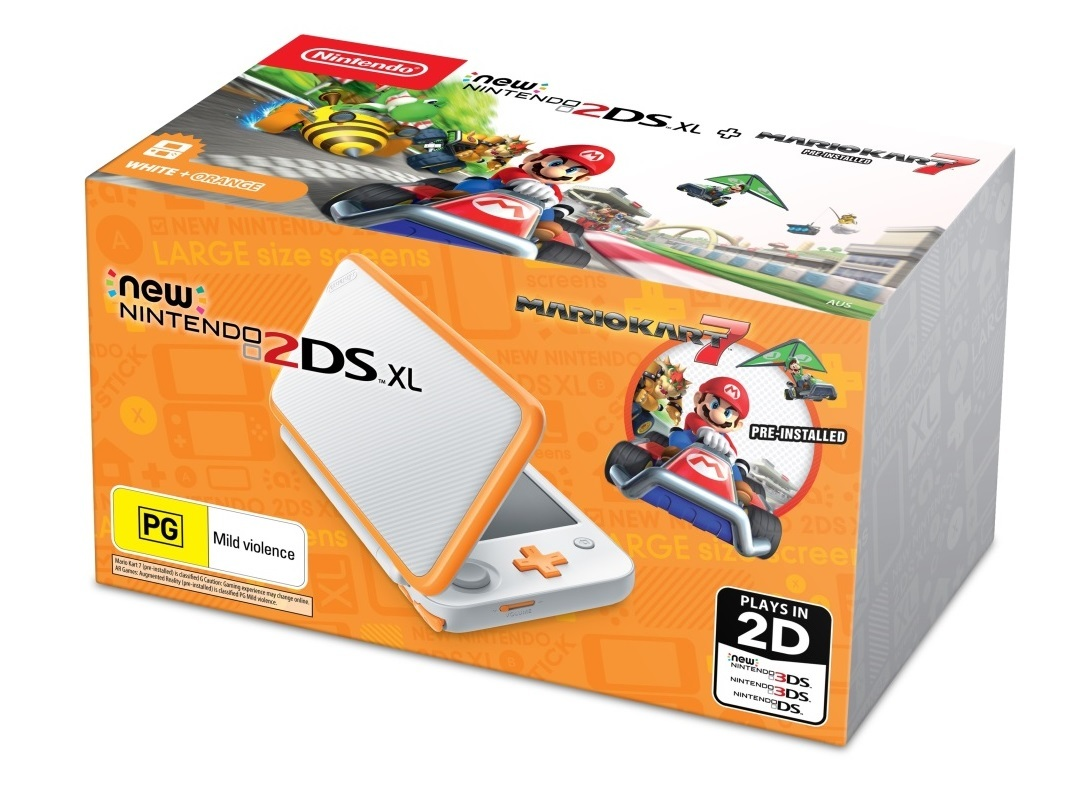 New Nintendo 2DS XL with Mario Kart 7 - White/Orange for 3DS image