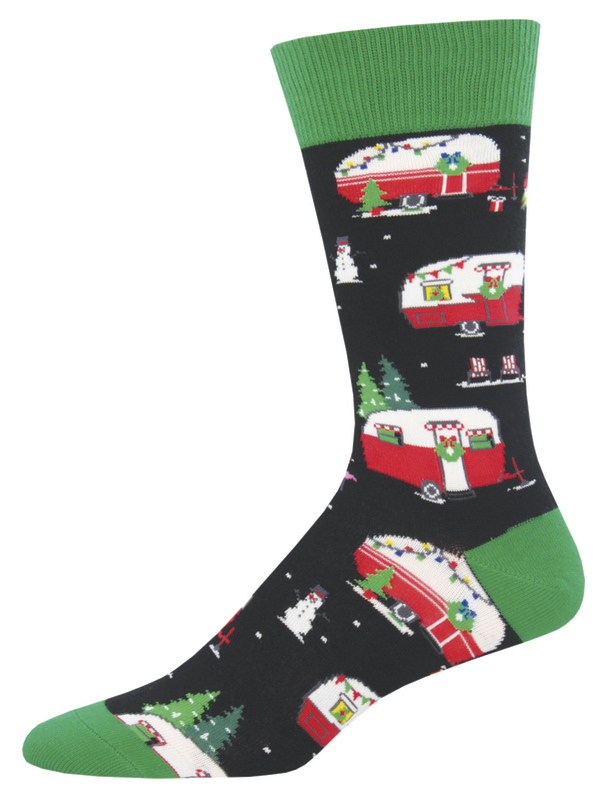 Socksmith: Men's Black Christmas Campers Christmas Crew Socks