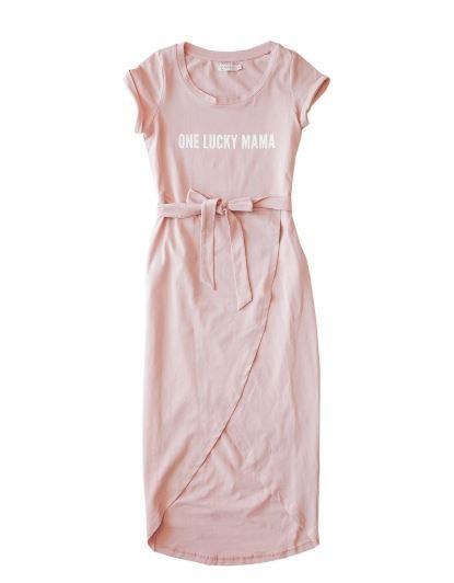 Karibou Kids: One Lucky Mama' Ladies Cotton T-shirt Dress - Dusty Pink 14