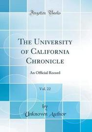 The University of California Chronicle, Vol. 22 by Unknown Author image