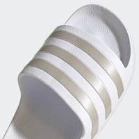 Adidas Adilette Slides Size 8 - White/Gold
