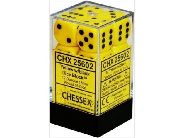 Chessex: D6 Opaque Cube Set (16mm) - Yellow/Black