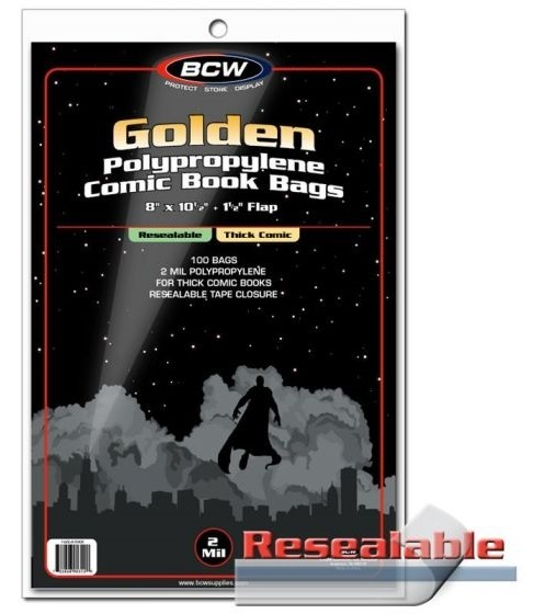 """BCW: Resealable Comic Book Bags - Golden/Thick (8"""" x 10.5"""")"""