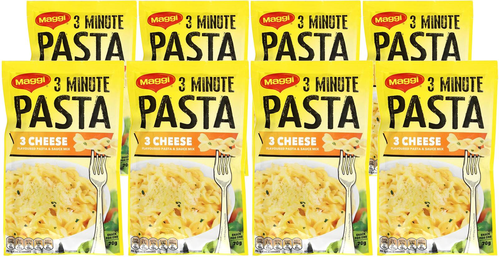 Maggi 3 Minute Three Cheese Pasta 70g (8 Pack) image