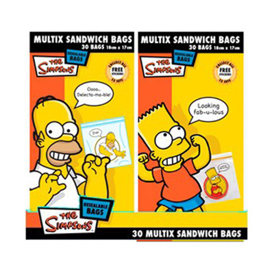 Multix Resealable Simpson's Sandwich Bags 30 Pack image
