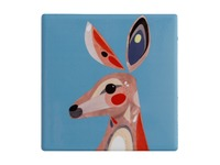 Maxwell & Williams: Pete Cromer Ceramic Square Tile Coaster - Kangaroo (9.5cm)