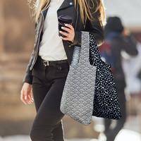 Foldable Shopper With Clip - Monochrome