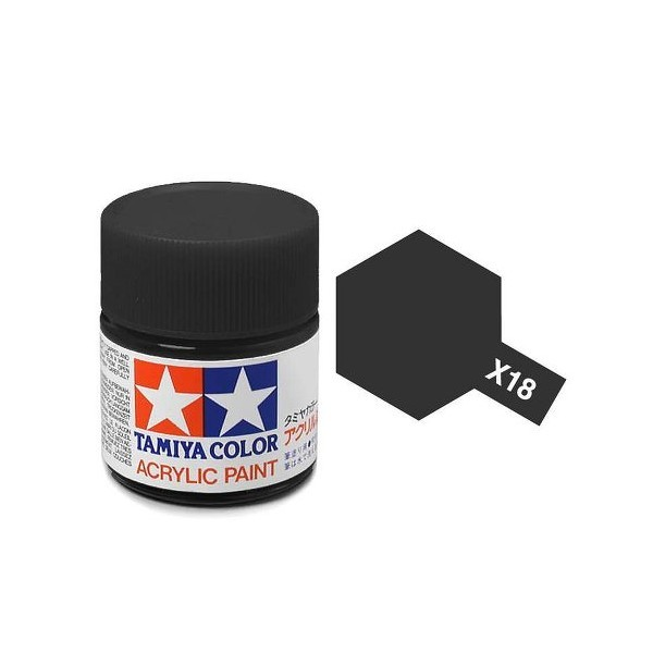 Tamiya Acrylic: Semi Gloss Black (X18)