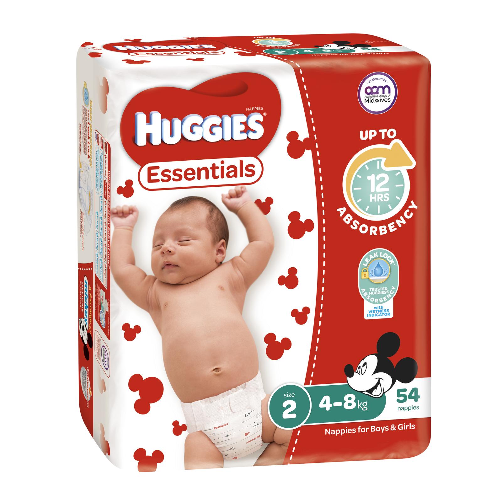 Huggies Essentials Nappies Bulk - Size 2 Infant (54) image