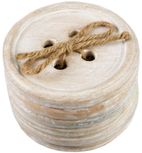 Wooden Button Coaster Set (6 pc)