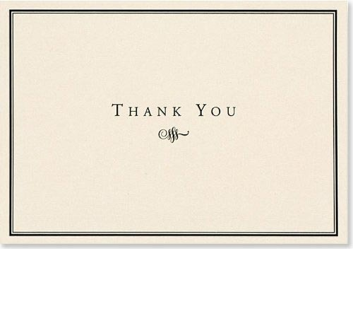 Black & Cream Thank You Note Cards (14 Cards/Envelopes)