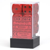 Chessex: D6 Opaque Cube Set (16mm) - Red/Black
