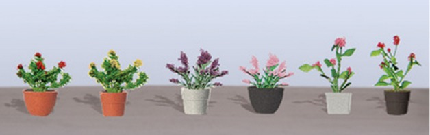 JTT: HO Scale Assorted Potted Flower Plants #1 (6 Pack)