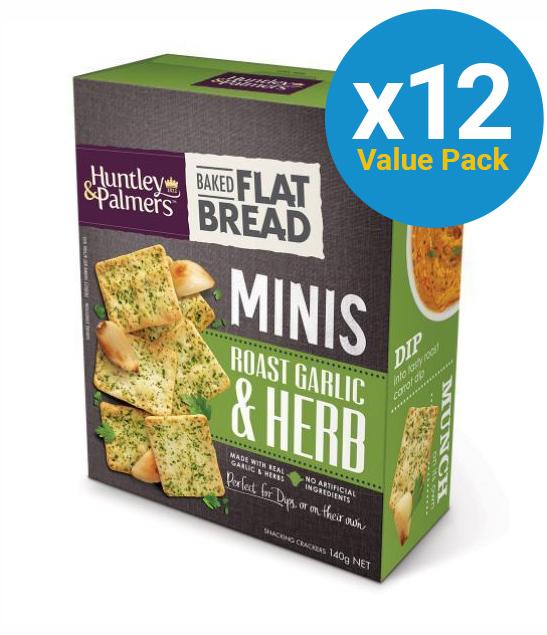 Huntley & Palmers Flat Bread Minis - Garlic & Herb 140g (12 Box Value Pack)
