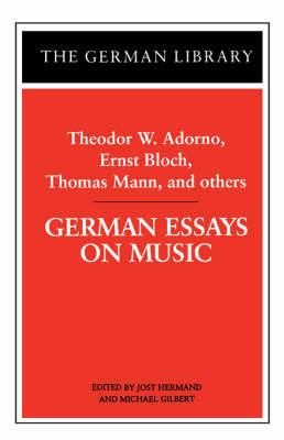 German Essays on Music by ADORNO image