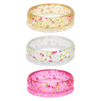 Pink Poppy: Floral Print Glitter Bangle - (Assorted Colours)