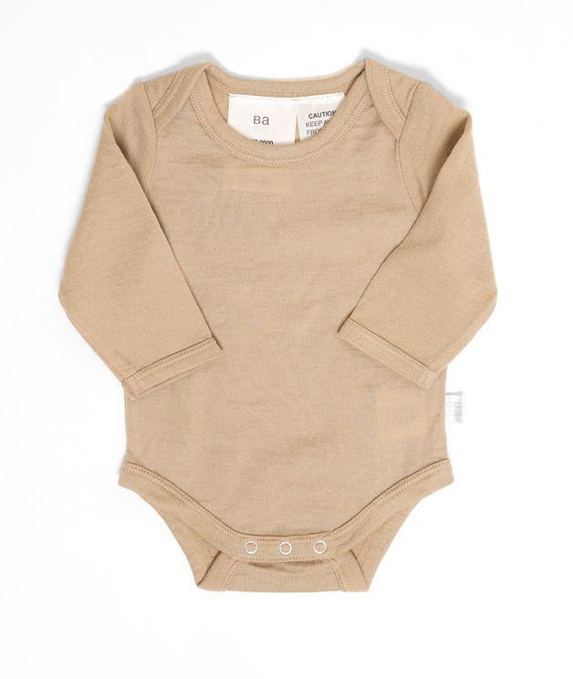 Babu: Merino Long Sleeve Body Suit - Sand (0-3m)