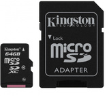 64GB Kingston - MicroSDXC Card with SD Adapter (Class 10)