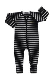 Bonds Ribby Zippy Wondersuit - Black/New Grey Marle (Newborn)