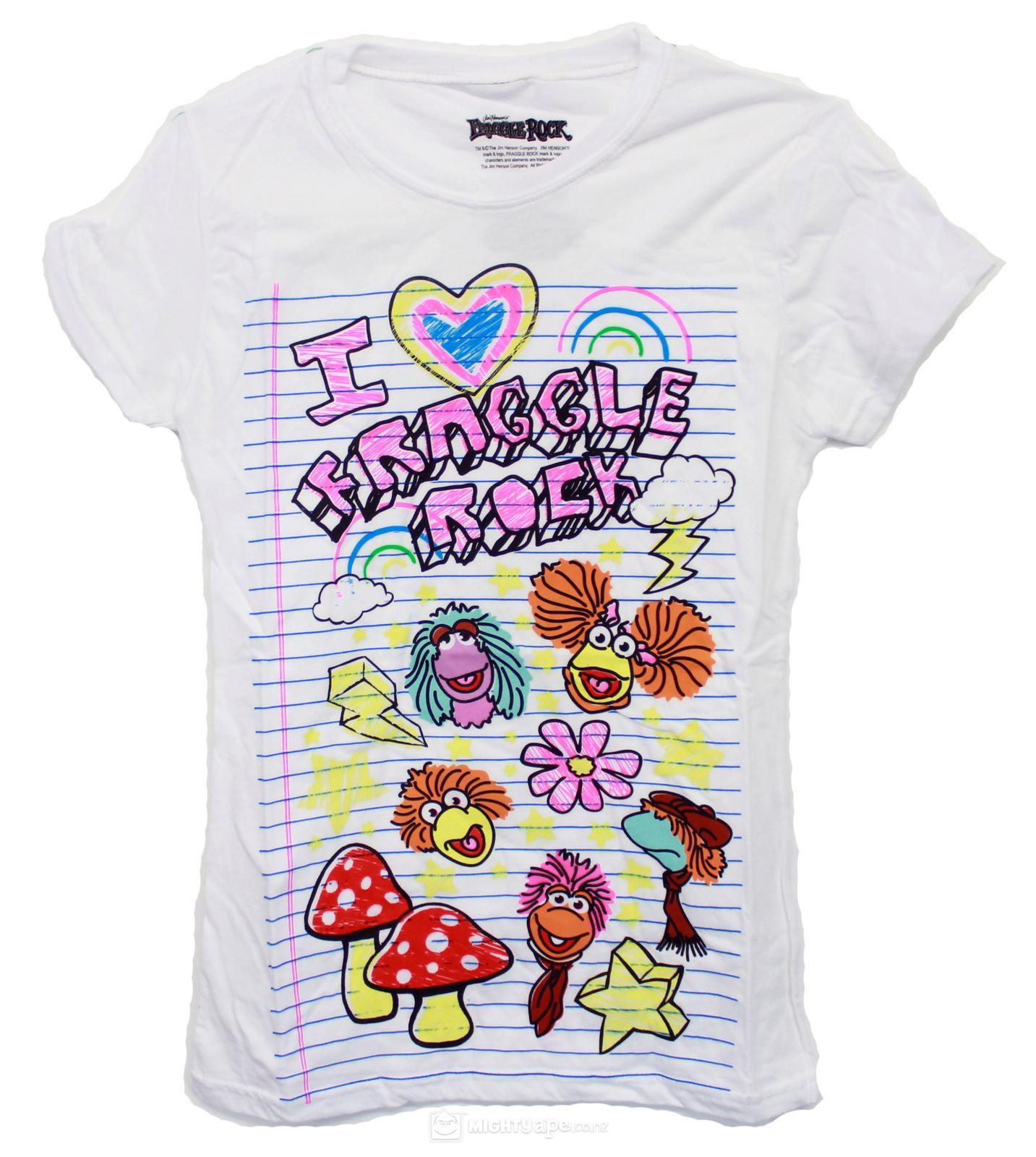Fraggle Rock Paper Drawn Girl's T-Shirt (Medium)