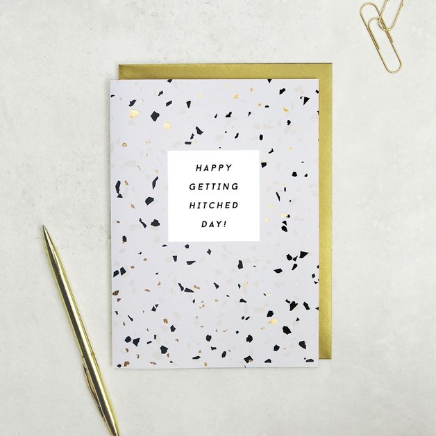 Terrazzo: Happy Getting Hitched Day Wedding Card