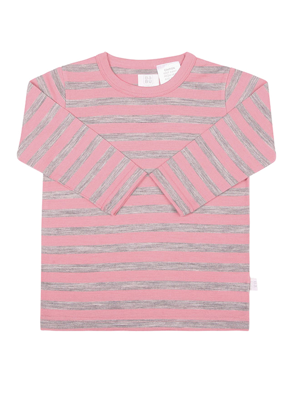 Babu: Merino Crew Neck Long Sleeve T-Shirt - Pink Stripe (1 Year)