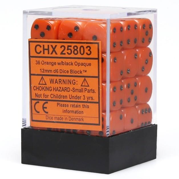 Chessex: D6 Opaque Cube Set (12mm) - Orange/Black