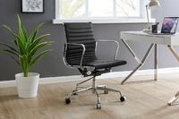 Matt Blatt: Replica Eames Group Standard Aluminium Low Back Office Chair (Black Leather)